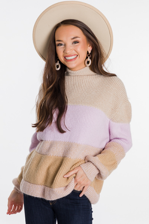 Bishop Colorblock Sweater, Lilac
