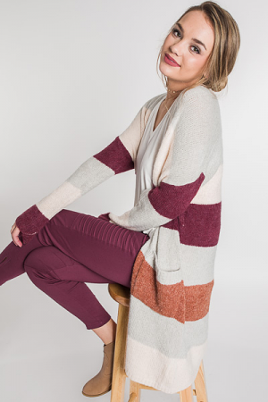 Striped Sweater Duster, Burgundy