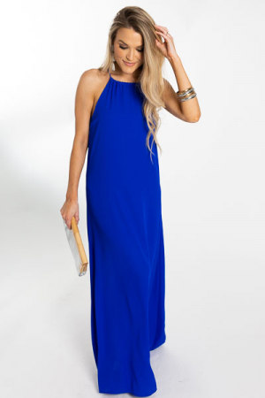 Drawstring Neck Maxi, Royal