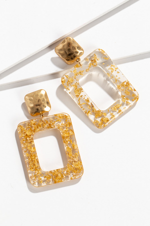 Gold Lucite Rectangle