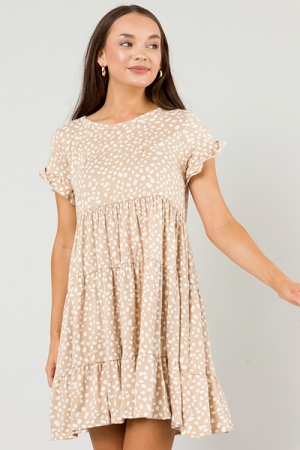 Soft Knit Dotted Babydoll, Taupe