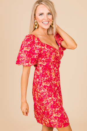 Stunner Dress, Fuchsia Print