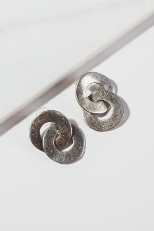 Double Round Earrings, Silver