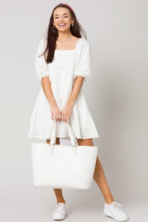 Natalie Puff Sleeve Dress, White
