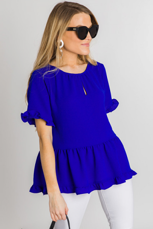 Bright Side Ruffle Blouse, Royal