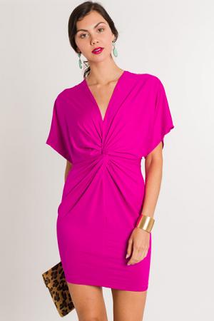 Kayla Twist Front Dress, Fuchsia
