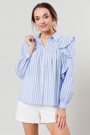 Trimmed In Ruffles Top, Blue/White