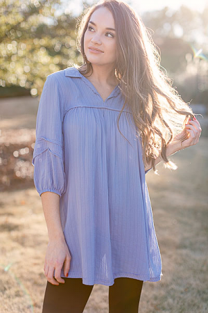 Collared Babydoll Frock, Blue