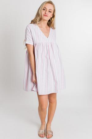Strawberry Stripes Babydoll Dress