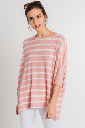 Summer Nights Stripe Sweater, Mauve