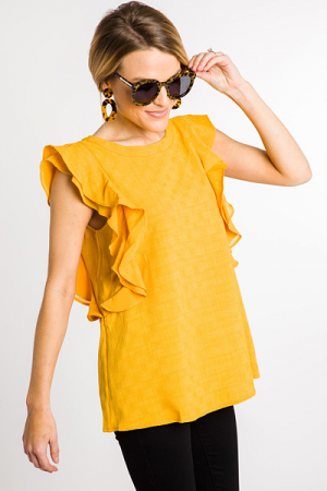 Golden Girl Ruffle Blouse