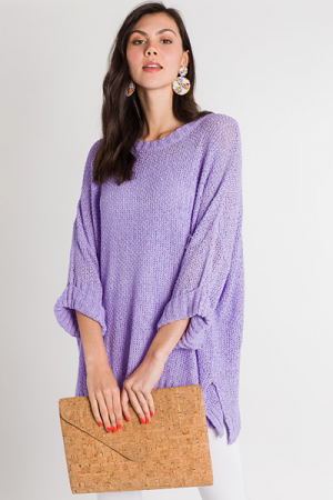 Cuff Sleeve Summer Sweater, Purple