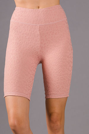 Textured Leopard Biker Shorts