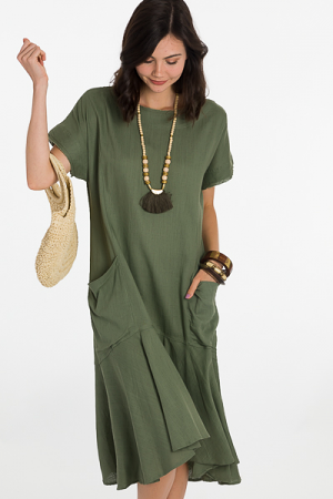 Oversized Pockets Midi, Olive