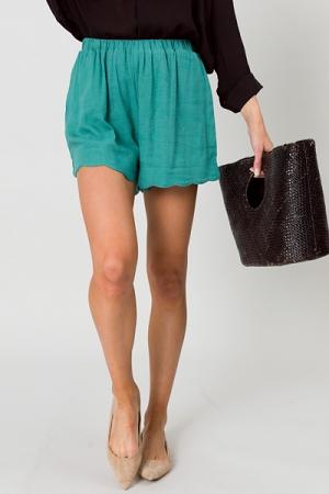 Scalloped Liner Shorts, Jade