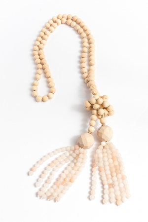 Beaded Tassel Necklace, Natural