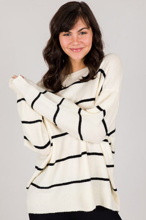 Sybil Sweater, Ivory Black