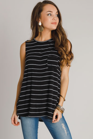 Cason Tank, Black Stripe