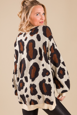 Brittany Leopard Sweater, Cream