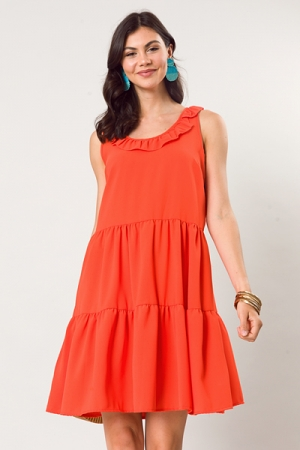 Ruffle Round Neck Dress, Tomato