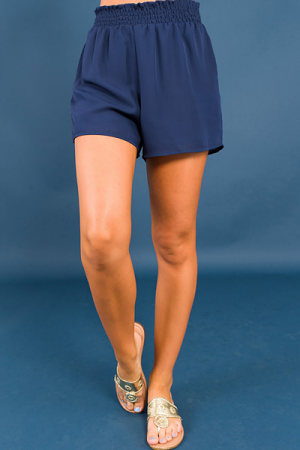 Smocked Waist Shorts, Navy
