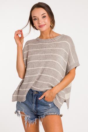 Flipped Stripes Sweater, Gray