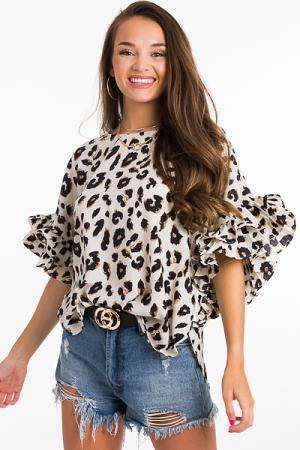 Pleat Sleeve Blouse, Leopard