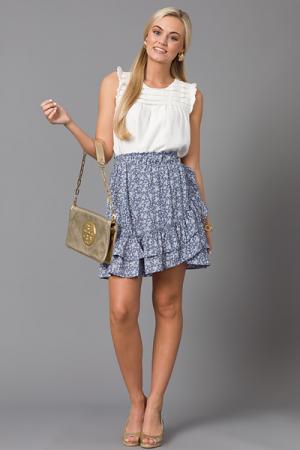 Floral Frill Skirt, Blue