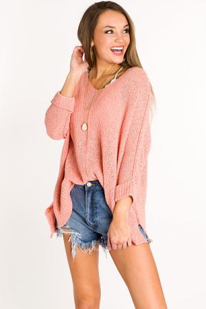 Folded Cuffs Sweater, Peach Coral