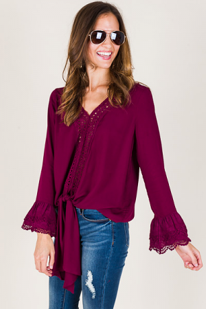 Lace Bell Sleeve Top, Wine