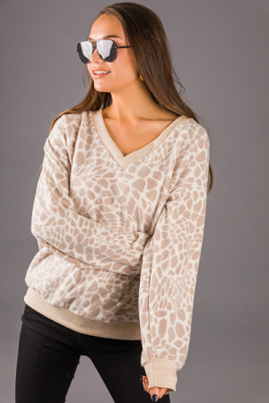 Taupe Contrast Leopard Pullover
