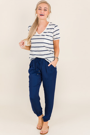 Mia V-Neck, Navy Stripes