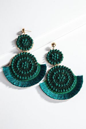 Fringe Bead Ear, Teal