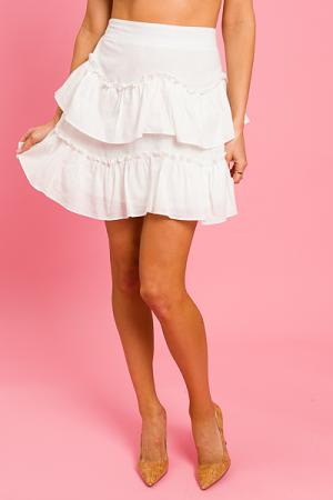 Zag Wag Skirt, White
