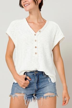 Half Button Sweater, Off White
