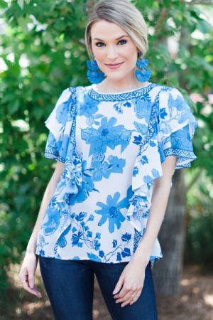 Bloom in Blue Blouse