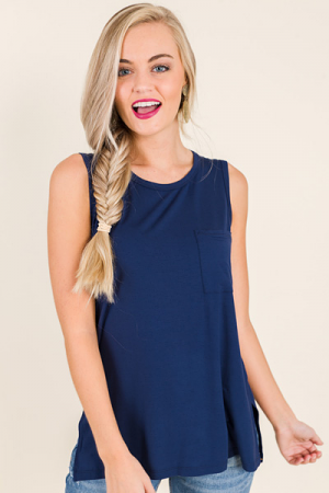 Bamboo Pocket Tank, Deep Navy