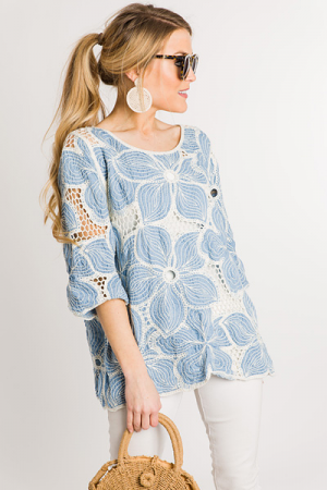 Embroidered Blooms Top, Blue