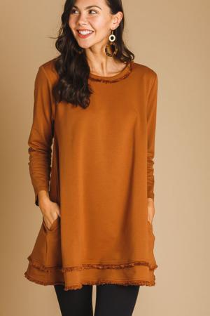 Fringe Trim Dress, Camel