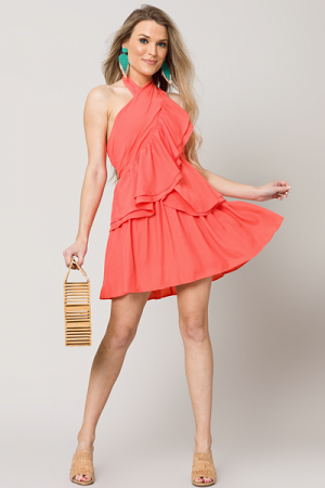 Tango Halter Dress, Orange