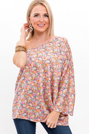 Satin Floral One Shoulder Top