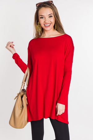 Piko Tunic Dress, Red