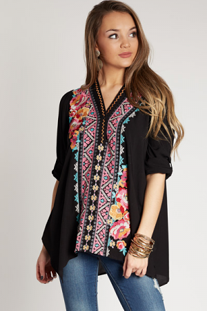 Beach Embroidered Top, Black