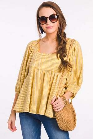 Becky Square Neck Top, Yellow