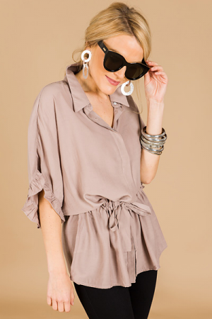 Drawstring Button Down, Taupe