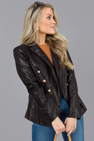 Iconic Leather Blazer, Black