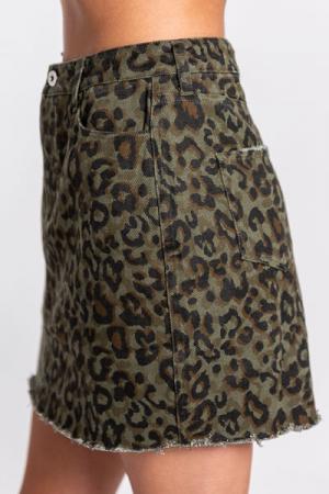 Olive Leopard Jean Skirt