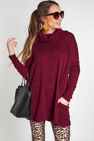 Cowl Tunic, Burgundy