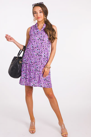 Spotted Ruffle Collar Dress, Lavender