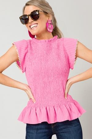 Flounce Hem Smock Top, Pink